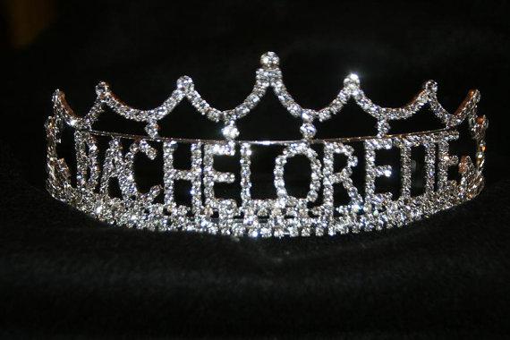 Wedding - Bachelorette Tiara, Bachelorette Crown, Bachelorette Rhinestone Tiara, Bachelorette Party, All Metal Silver Plated With Quality Rhinestones
