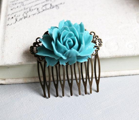 Hochzeit - Vintage Style Teal Flower Hair Comb. hair clip.  filigree barrette. hair accessory. vintage wedding. bridemaid