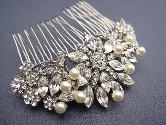 Wedding - Vintage Inspired  Pearls bridal hair comb, Swarovski pearl hair comb, wedding hair comb, bridal hair accessories, wedding hair accessories