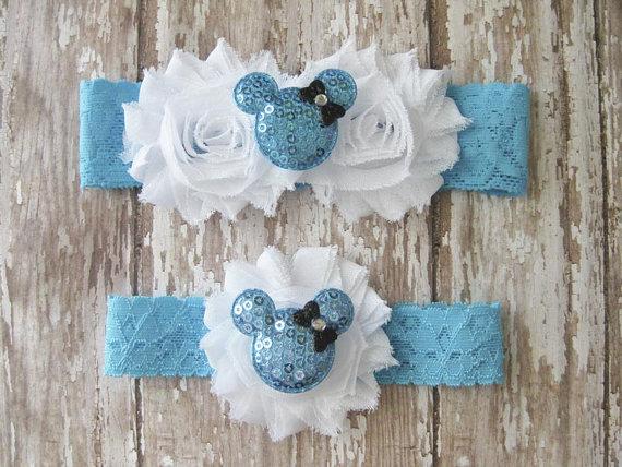 Свадьба - Something Blue Minnie Mouse Garter Set