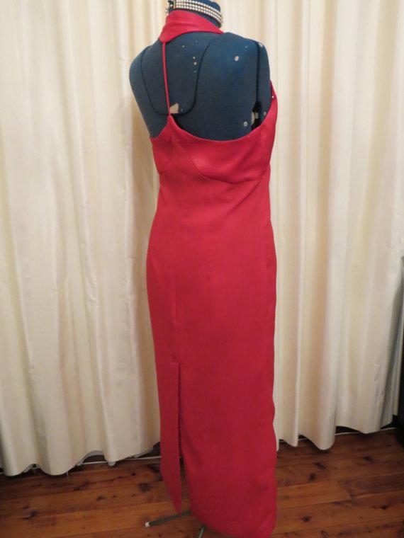 زفاف - Made in Australia by Stephanelle Vintage Sexy 80s Red Open Back Formal Prom Bridesmaid Dress
