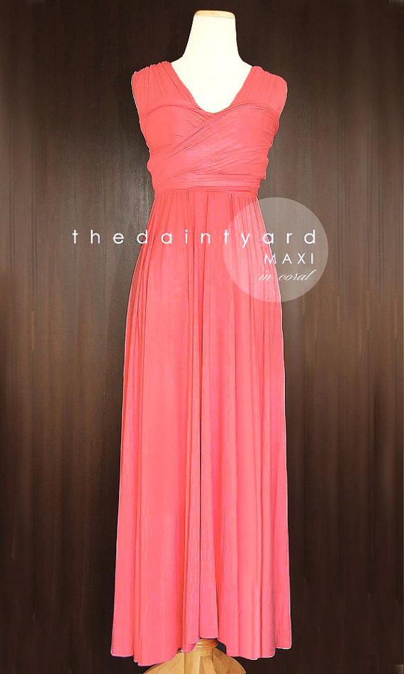 زفاف - MAXI Coral Bridesmaid Dress Convertible Dress Infinity Dress Multiway Dress Wrap Dress Full Length Dress Wedding Dress Cocktail Dress