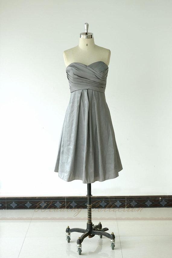 زفاف - Grey Bridesmaid Dress,Bridal Party Dresses Teffeta A line Knee Length
