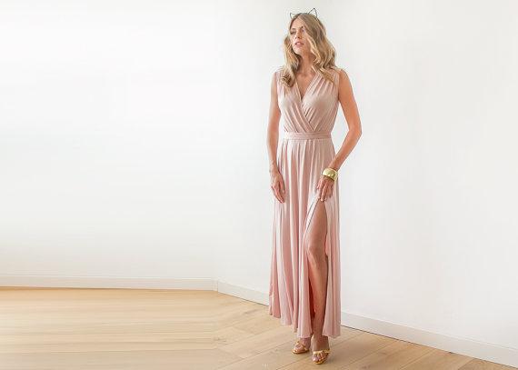 زفاف - Blush wrap maxi gown, Dress with wide skirt , Pink sleeveless gown