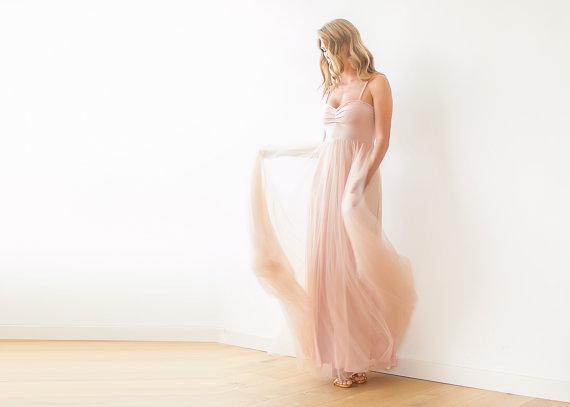 زفاف - Blush pink maxi tulle ballerina gown, Sweetheart neckline maxi gown