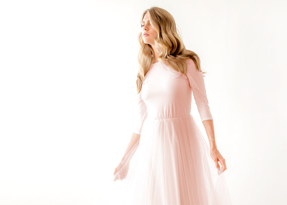 Свадьба - Blush pink maxi tulle dress, Bridesmaids blush maxi gown, Backless maxi pink formal dress