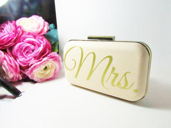 Wedding - Gold Clutch   Mrs clutch  Wedding Clutch  Mrs Gold   Bridal Gift  Bridal clutch  Blush clutch  Wedding Clutch