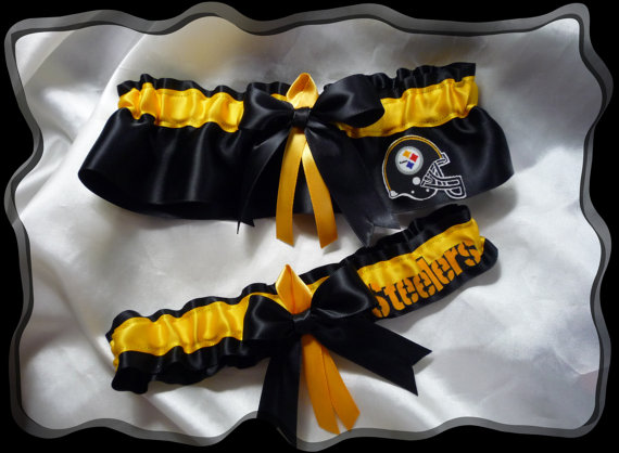 Свадьба - Black Satin Ribbon Wedding Garter Set Made with Pittsburgh Steelers Fabric