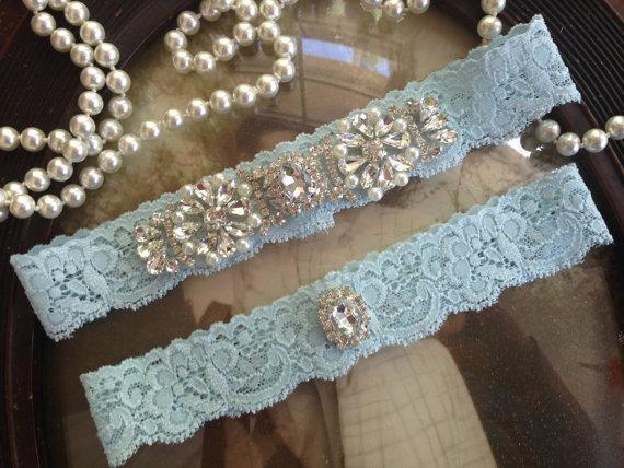 Wedding Garter Light Blue Ivory Lace Set Vintage Bridal Belt Something Toss Rhinestone Pearl