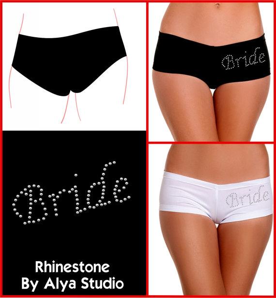 Свадьба - Bride Lingerie Bachelorette Party, Bridal Shower, Wedding Gift Custom Panty Booty Short with Rhinestones