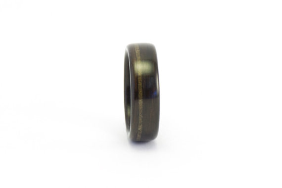 Свадьба - Ebony Wood Ring, Meteorite Inlay, Wood Wedding Ring, Wood Engagement Ring, Men's Wood Ring, Woman's Wood Ring, Bentwood Ring