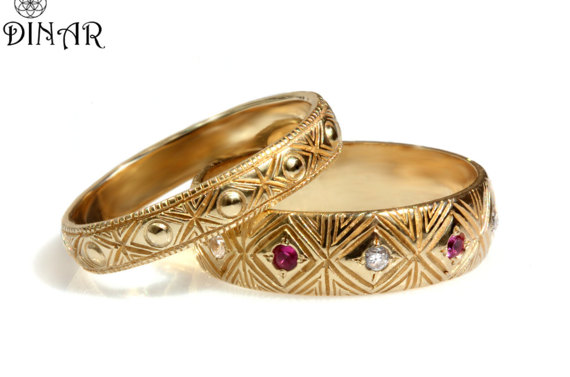 Wedding Band Set 14k Solid Yellow Gold Engraved Antique Patterned Matching Art Deco Pattern Bands