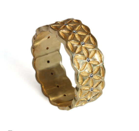 Band Wide Gold Band Flower Of Life Floral Wedding Ring Patterned