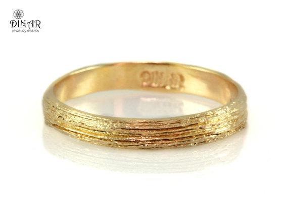 14k Yellow Gold Ring Women s Textured Wedding Band Tree Bark