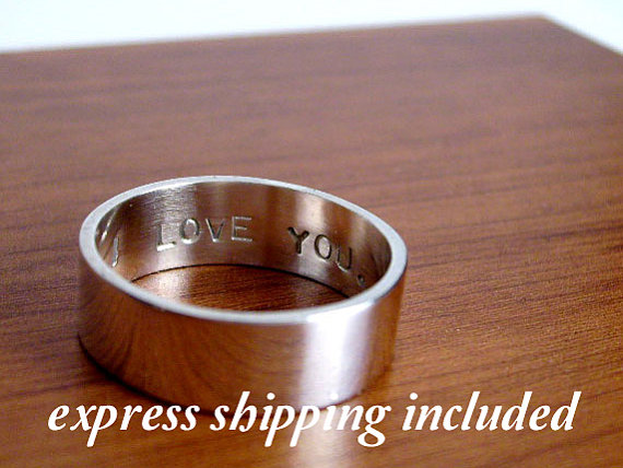 زفاف - 6mm EXPRESS shipping order: Custom Secret Promise Ring - One personalized  ring - block letter font - Recycled sterling silver