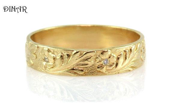 زفاف - Diamond wedding ring ,14k yellow Gold floral Wedding Band, hand engraved wedding ring ,women's single band Anniversary gift for her, jewelry