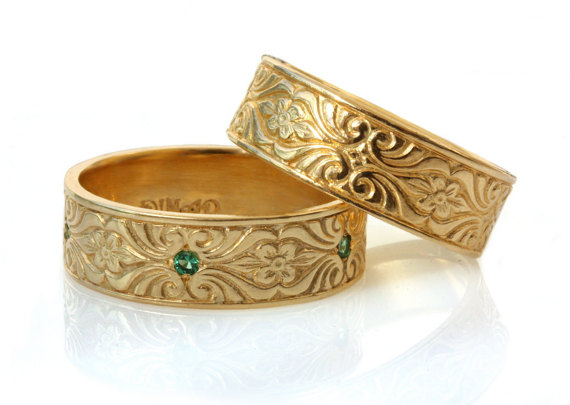 14k Gold Wedding Band Set His And Hers Matching Bands Art Deco Engraved Floral Pattern