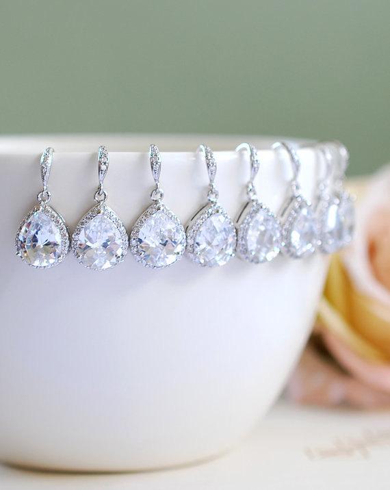 Свадьба - Crystal Bridal Earrings, Set of 5 Bridesmaid Earrings, LARGE Teardrop White Crystal Cubic Zirconia Silver Wedding Earrings. Special Price.