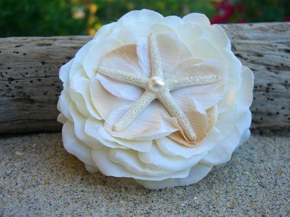 زفاف - Starfish Hair Flower-SEASIDE DREAMS-Beach Weddings, Mermaid Hair, Starfish Hair, Floral Hair Clip, Coastal Weddings, Destination Weddings