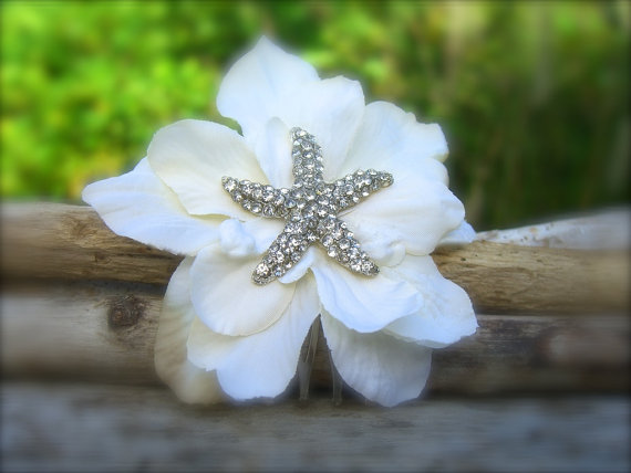 Boda - Beach Wedding Starfish Floral Hair Fascinator-IVORY-Beach Wedding, Starfish Wedding, Bridal Hair Clip, Mermaid Hair, Vegan Friendly Starfish