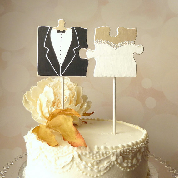 Puzzle Piece Wedding Cake Topper Mr And Mrs Cake Topper With Hand