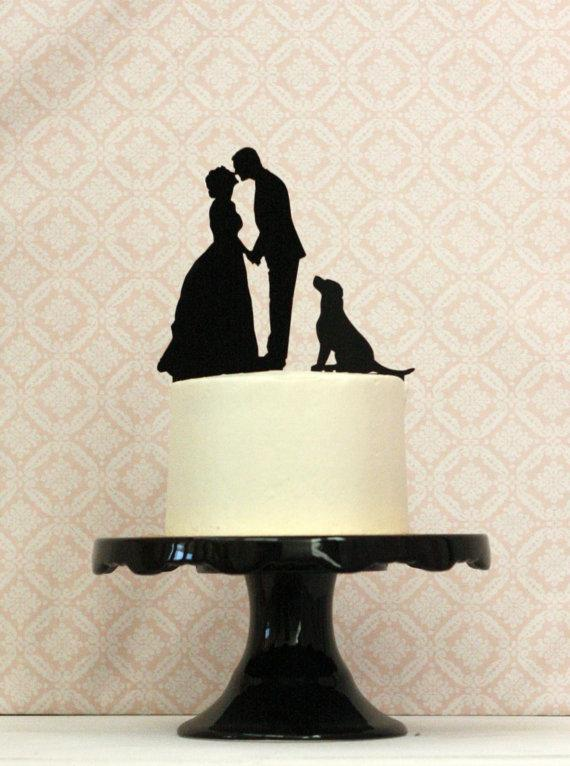 Mariage - WITH DOG Custom Silhouette Wedding Cake Topper with your dog or pet and  Personalized with YOUR Silhouettes - Bride Groom Dog Cake Topper