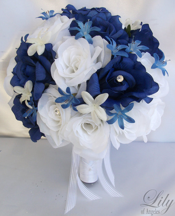17 Pieces Package Silk Flower Wedding Decoration Bridal Bouquet DARK BLUE WHITE Lily Of Angeles