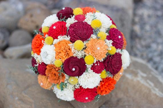 Boda - Wedding Bouquet, Sola Bouquet, Orange, Yellow, Red Fall Bouquet, Bridal Bouquet, Sola flowers, Bouquet, Handmade