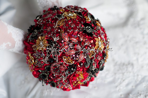 Ruby Red Black And Gold Wedding Brooch Bouquet. Deposit ...
