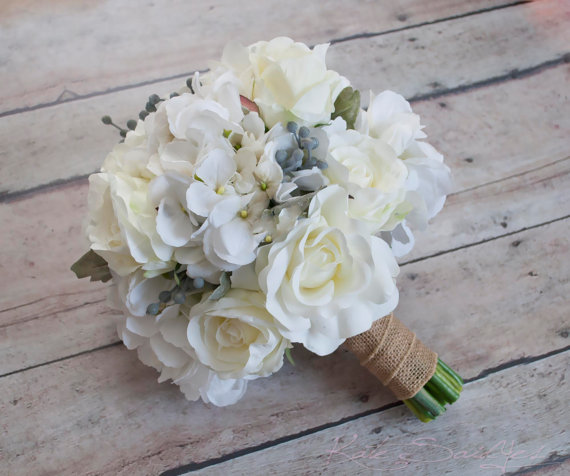 Mariage - White Rose and Hydrangea Wedding Bouquet with Silver Brunia and Dusty Miller