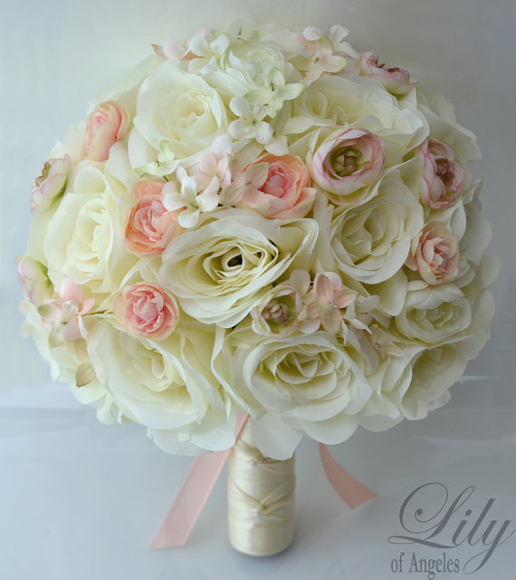 """Mariage - 17 Piece Package Wedding Bridal Bride Maid Of Honor Bridesmaid Bouquet Boutonniere Corsage Silk Flower PEACH IVORY """"Lily of Angeles"""" IVPI06"""