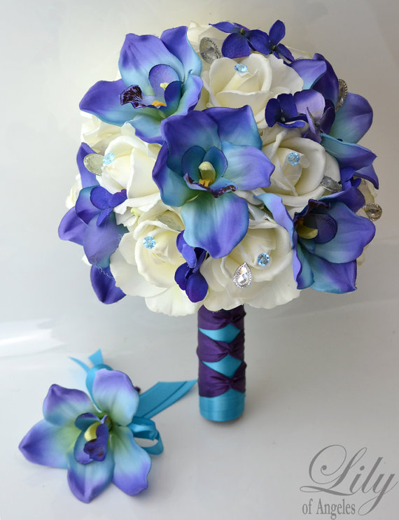 Bridal Bouquet Wedding Silk Real Touch Flowers Bride Groom ...