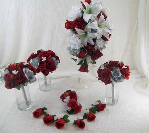 "White And Red Wedding Flowers: 50 % Deposit Custom Listing For ""Amy"" Lily Rose Red White"