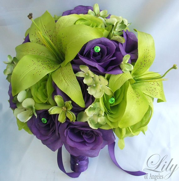 """Mariage - 17 Piece Package Wedding Bridal Bride Maid Of Honor Bridesmaid Bouquet Boutonniere Corsage Silk Flower GREEN PURPLE """"Lily of Angeles"""" PUGR01"""