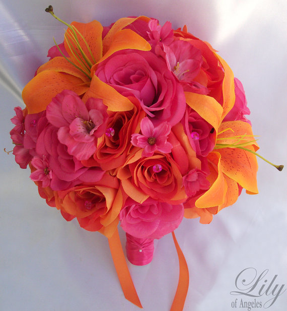 Mariage - 17 Piece Package Wedding Bridal Bride Maid Of Honor Bridesmaid Bouquet Boutonniere Corsage Silk Flower FUCHSIA ORANGE Lily of Angeles FUOR01