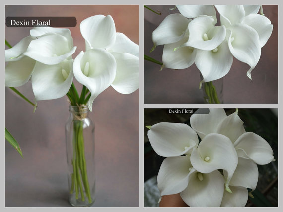 Mariage - Real Touch White Calla Lily Stem for Silk Wedding Bridal Bouquets Bridesmaids Bouquets, Table Centerpieces, Decorations,