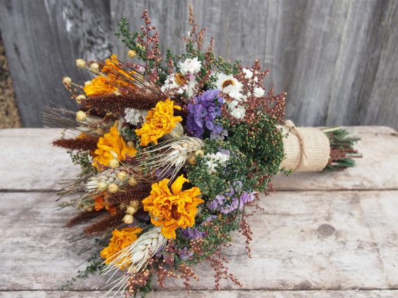 Mariage - Autumn HARVEST Bridesmaid Dried Flower Bouquet - For a Rustic Country Wedding