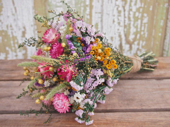 Our FIELD FLOWER Bridesmaid Dried Flower Bouquet - For A Rustic ...