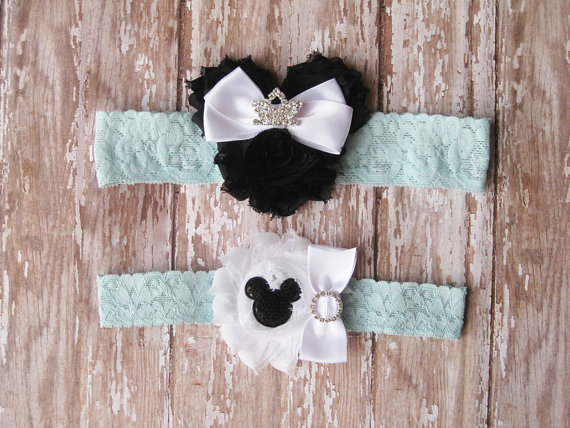 Hochzeit - Something Blue Princess Minnie Mouse Garter Set