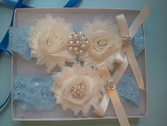 Свадьба - Wedding Garter Set- Something Blue Set -Ivory Flowers on a Stretch Blue Lace with Pearl & Rhinestone - Style G291-B