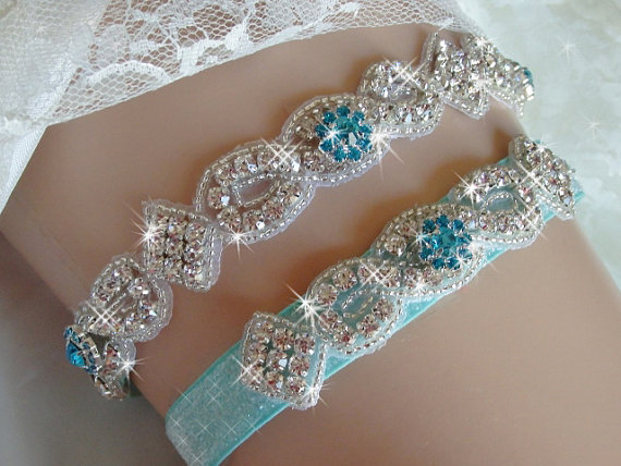 Свадьба - Something Blue Wedding Garter Set, Bridal Garter Belts, Aqua Glitter Garter, Rhinestone Garter, Bling Bridal Accessories, Wedding Garder