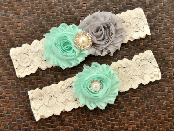 Свадьба - Wedding Garter, Bridal Garter Set, Mint Wedding Garter, Mint Bridal Garter, Ivory Lace Garter, Mint Garter, Gray Garter, Mint and Gray