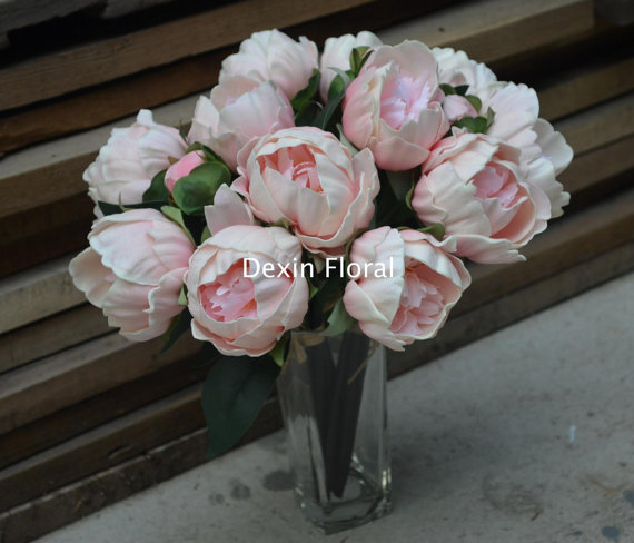 Real Touch Flowers Pu Whitepink Peonies For Bridal Bouquets