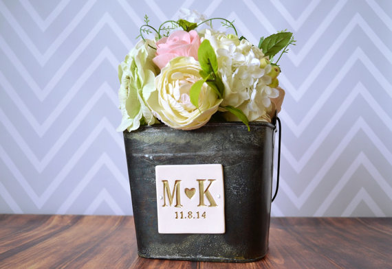 Wedding - PERSONALIZED Flower Girl Bucket with Initials