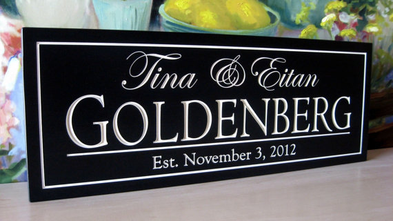 Mariage - Personalized Name Sign.....Carved 8 x 24 Personalized Family Name Sign Wedding Gift
