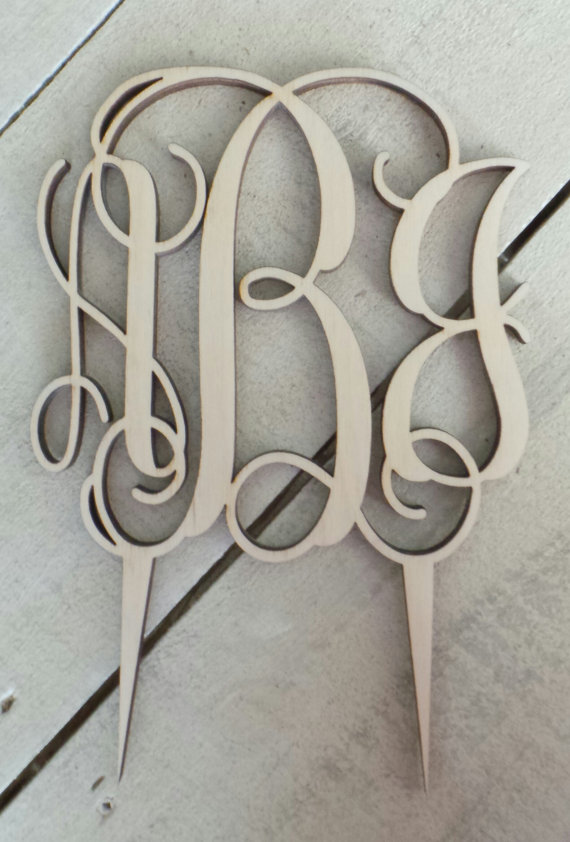 Wedding - Monogram Wedding Cake Topper - Ready to Paint