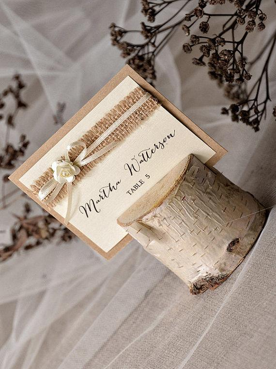 Custom Listing 20 Rustic Place Card Holder With Birch Wedding Model No 03s Ru W