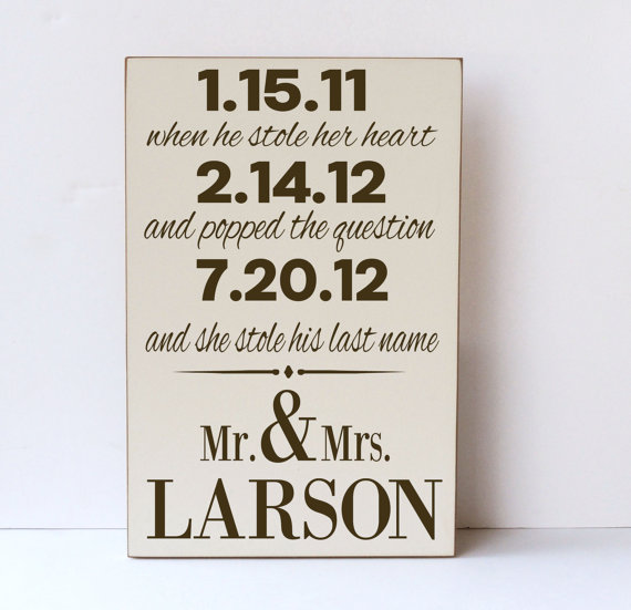 Wedding - Mr. and Mrs., She Stole His Last Name, Wooden Sign, Wedding Gift, Anniversary Gift, Wedding Decor, Engagement, Bridal Shower,You Pick Colors