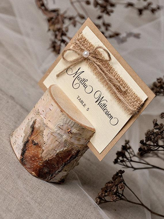 Свадьба - Custom listing (20) Rustic Place Card Holder with Place Card, Birch wedding Escort card with holder, Wedding Place card, Model no: 07s/ru/w