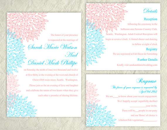 Printable Wedding Invitation Suite Printable Invitation Pink